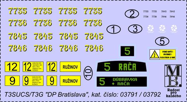 Obtiskový aršík Tatra T3SUCS