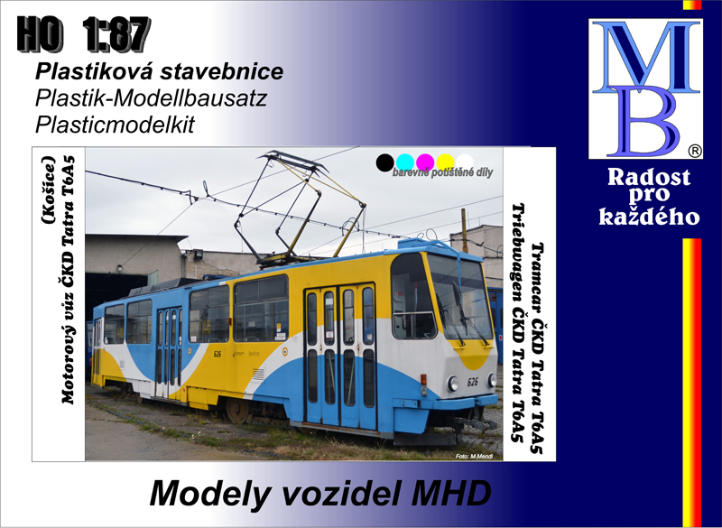 Potištěná stavebnice tramvaje ČKD Tatra T6A5