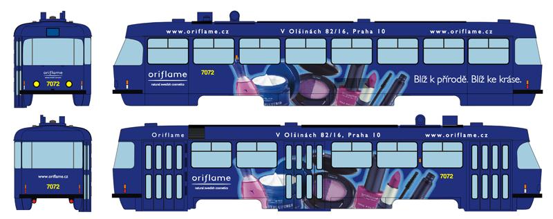 Model tramvaje ČKD Tatra T3SUCS s reklamou