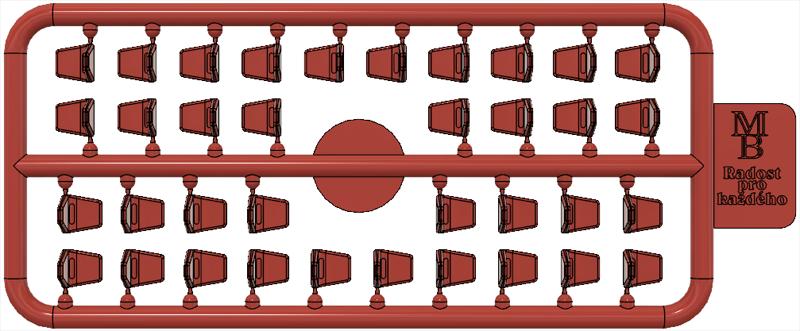 Výlisek sedačky červené pro tramvaje ČKD Tatra T3SUCS