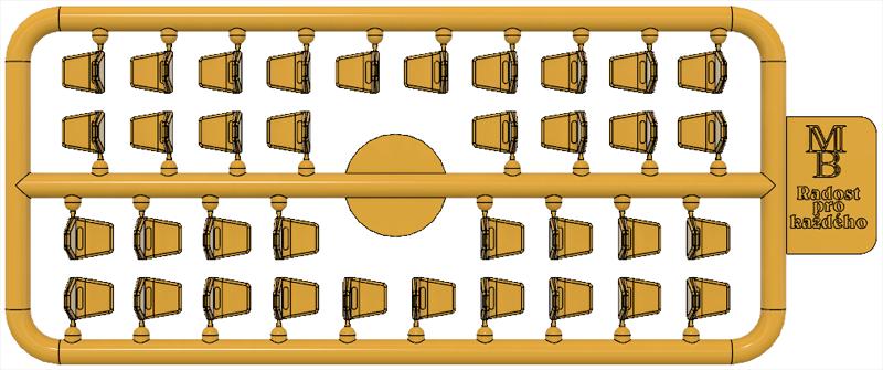 Výlisek sedačky žluté pro tramvaje ČKD Tatra T3SUCS